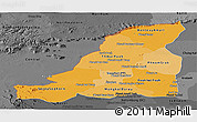 Political Shades Panoramic Map of Banteay Meanchey, darken, desaturated