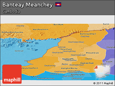 Political Shades Panoramic Map of Banteay Meanchey