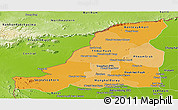 Political Shades Panoramic Map of Banteay Meanchey, physical outside