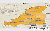 Political Shades Panoramic Map of Banteay Meanchey, shaded relief outside