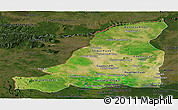 Satellite Panoramic Map of Banteay Meanchey, darken