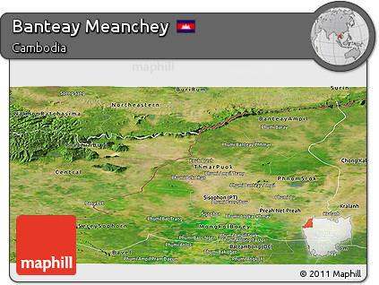 Satellite Panoramic Map of Banteay Meanchey