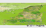 Satellite Panoramic Map of Banteay Meanchey, physical outside