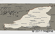 Shaded Relief Panoramic Map of Banteay Meanchey, darken