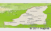 Shaded Relief Panoramic Map of Banteay Meanchey, physical outside