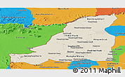 Shaded Relief Panoramic Map of Banteay Meanchey, political outside