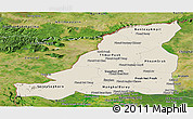 Shaded Relief Panoramic Map of Banteay Meanchey, satellite outside