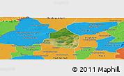Satellite Panoramic Map of Phnom Srok, political outside