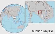 Gray Location Map of Preah Net Preah
