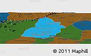 Political Panoramic Map of Thmar Puok, darken
