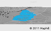 Political Panoramic Map of Thmar Puok, desaturated