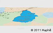 Political Panoramic Map of Thmar Puok, lighten