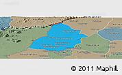 Political Panoramic Map of Thmar Puok, semi-desaturated