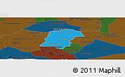 Political Panoramic Map of Battambong (DC), darken