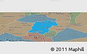 Political Panoramic Map of Battambong (DC), semi-desaturated