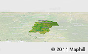 Satellite Panoramic Map of Battambong (DC), lighten