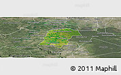 Satellite Panoramic Map of Battambong (DC), semi-desaturated