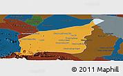 Political Panoramic Map of Mong Russey, darken