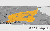 Political Panoramic Map of Mong Russey, desaturated