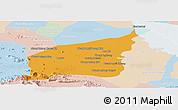 Political Panoramic Map of Mong Russey, lighten