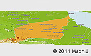 Political Panoramic Map of Mong Russey, physical outside