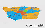 Political Panoramic Map of Battambang, cropped outside