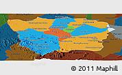 Political Panoramic Map of Battambang, darken