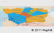 Political Panoramic Map of Battambang, lighten