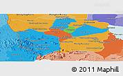 Political Panoramic Map of Battambang, political shades outside