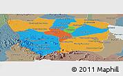 Political Panoramic Map of Battambang, semi-desaturated