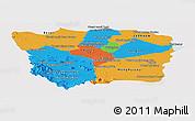 Political Panoramic Map of Battambang, single color outside