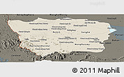 Shaded Relief Panoramic Map of Battambang, darken