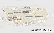 Shaded Relief Panoramic Map of Battambang, lighten