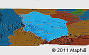 Political Panoramic Map of Rattanak Mondul, darken