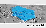 Political Panoramic Map of Rattanak Mondul, desaturated