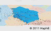 Political Panoramic Map of Rattanak Mondul, lighten
