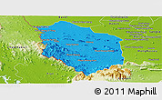 Political Panoramic Map of Rattanak Mondul, physical outside