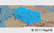 Political Panoramic Map of Rattanak Mondul, semi-desaturated
