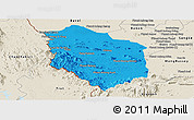 Political Panoramic Map of Rattanak Mondul, shaded relief outside