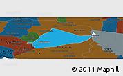 Political Panoramic Map of Sangke, darken