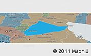 Political Panoramic Map of Sangke, semi-desaturated