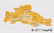 Political Shades 3D Map of Kampong Cham, cropped outside