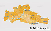 Political Shades 3D Map of Kampong Cham, single color outside