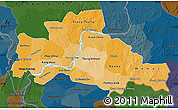 Political Shades Map of Kampong Cham, darken