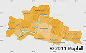Political Shades Map of Kampong Cham, single color outside