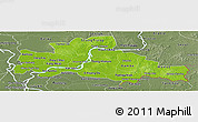Physical Panoramic Map of Kampong Cham, semi-desaturated