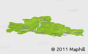Physical Panoramic Map of Kampong Cham, single color outside