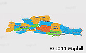 Political Panoramic Map of Kampong Cham, cropped outside