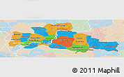 Political Panoramic Map of Kampong Cham, lighten
