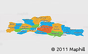 Political Panoramic Map of Kampong Cham, single color outside